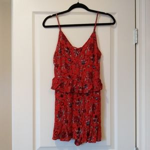 American Eagle Red Floral Romper